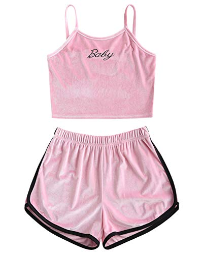 - ZAFUL Womens Velvet Embroidered 2 Piece Outfit Spaghetti Strap Sleeveless Crop Top Shorts Set(Pink,M)