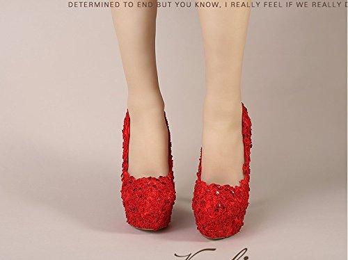 Perla Mesa La Elegante Foto Rojo Poco De Profundos Zapatos De De Boda De Zapatos Boda Zapatos La Encaje La La Zapatos De Súper Novia Agua Mujer Alta De VIVIOO heel 12cm Tacón Alto UqRxIIv