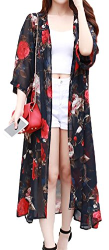 Gergeousレディース ロングカーディガン7分袖 シフォン 花柄 長袖カーディガン UVカット 日焼け対策 冷房対策 夏 レディースカーディガン リゾート 旅行