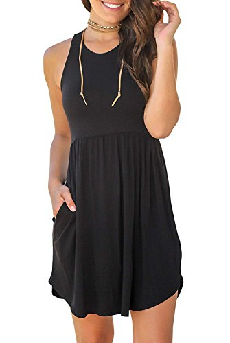 IWOLLENCE-Womens-SleevelessLong-Sleeve-Loose-Plain-Dresses-Casual-Short-Dress-with-Pockets