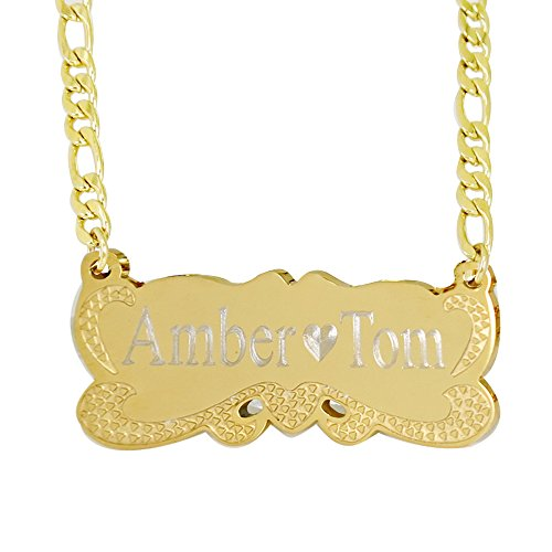 Personalized Custom Any Name Necklace 18K Gold Plated Handwriting Customized Nameplate Necklace