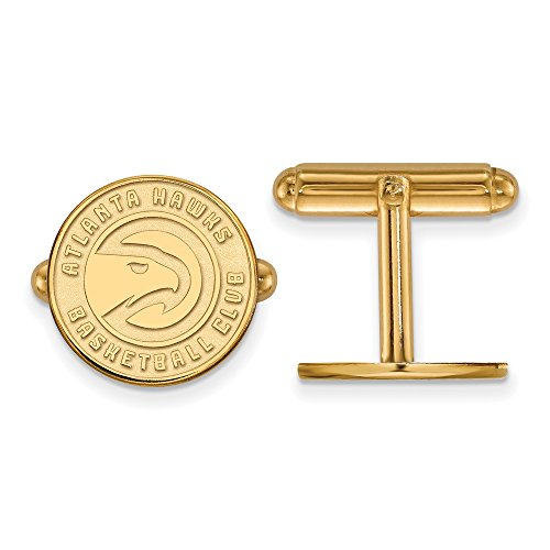 NBA 14k Yellow Gold Plated Sterling Silver Atlanta Hawks Cuff Links by LogoArt