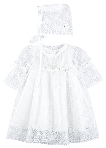 Lilax Baby Girl's Christening Baptism Lace Overlay Dress Gown & Bonnet 2 Piece Deluxe Set 6M ()