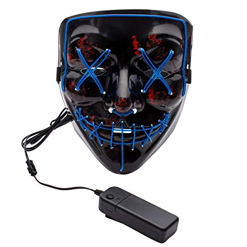 Apipi Halloween LED Light up Mask-Frightening EL Wire Cosplay Mask for Festival Parties (Blue) -