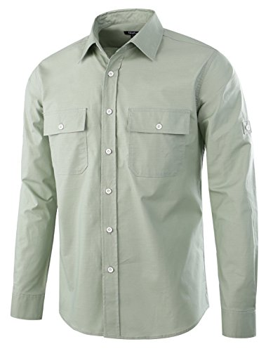 Estepoba Men's Premium Casual Stretch Long Sleeve Solid Button-Down Work Shirt Sage Green M