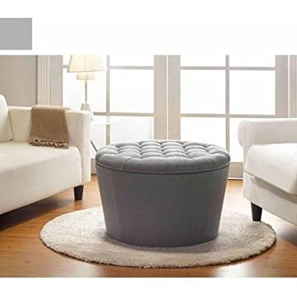 Stylish And Functional Better Homes And Gardens Round Tufted Storage Ottoman  With Nailheads, Multiple Finishes