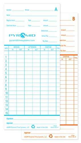 Pyramid 42415MB 1,000 Count  Genuine Time Cards for 2600 and 2650 Time Clocks - English Time Clock ()