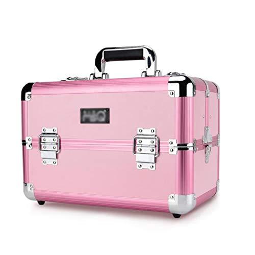 メッシュとして貴重なBUMC プロのアルミ化粧品ケースメイクアップトロリー列車テーブル虚栄心のための美容師特大旅行ジュエリーボックスオーガナイザー,Pink