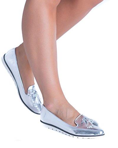 SnobUK - Zapatos Planos con Cordones mujer plata