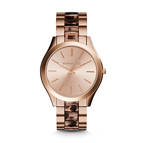 Michael Kors Women's Slim Runway Watch, Rose Gold/Tortoise/Blush, One Size