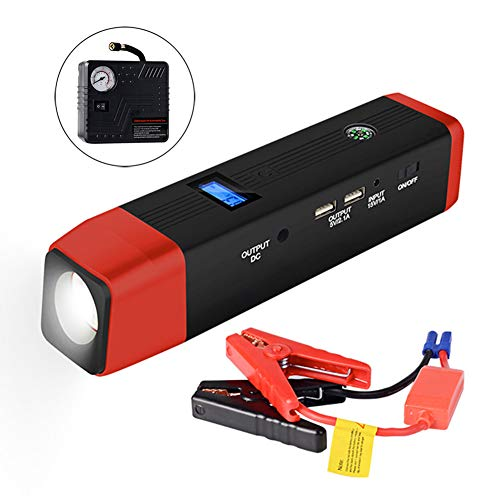 Car Emergency Power Starter Supercharger 20000 Ma Large Capacity Quick Start Multi-Function Led Flashlight, Charging Treasure, Gift Matching Air Pump,Red: