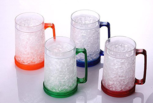 BC Inter Double Wall Gel Frosty Freezer Ice Mugs Clear 16oz Set of 4 (Blue, Red, Orange and Green) (16 Ounce Freezer)