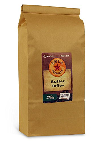 (Lola Savannah Butter Toffee Ground Coffee - Old Fashioned Toffee Flavored | Arabica Beans with Sweet Cream & Sugar | Caffeinated |  2lb Bag)