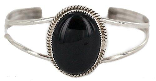 $650 Retail Tag Handmade Authentic Silver Navajo Natural Black Onyx Native American Bracelet -