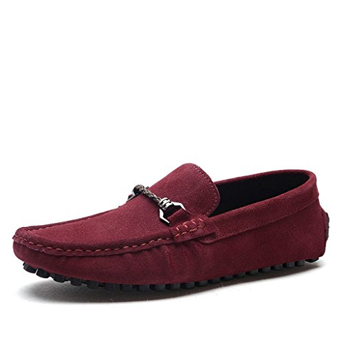 Minitoo Men's Comfort Slipper Penny Bow Suede Boat, Schuhe Weinrot