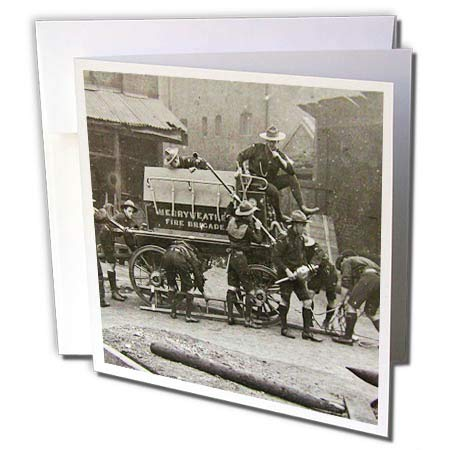 1908 Horse (3dRose Scenes from The Past Magic Lantern Slides - Vintage Edwardian Merryweather Steam Fire Engine 1908 Fire Brigade - 1 Greeting Card with Envelope (gc_269853_5))