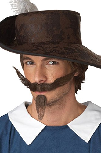 [8eighteen Dandy Three Musketeers Halloween Moustache Dark Brown] (Womens Three Musketeers Costumes)