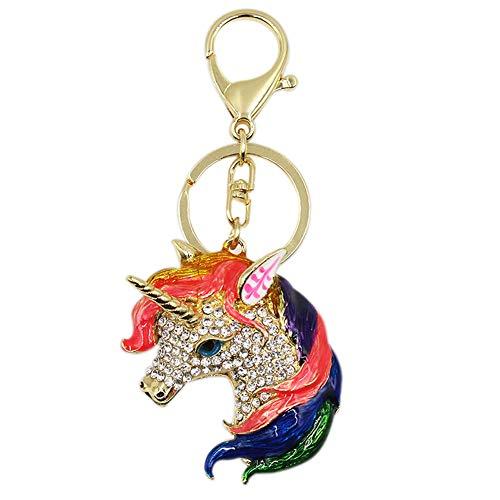 Bag Charm Pendant - Colorful Unicorn Rhinestone Keychain Handbag Purse Charm Pendant Gift for Women Girls