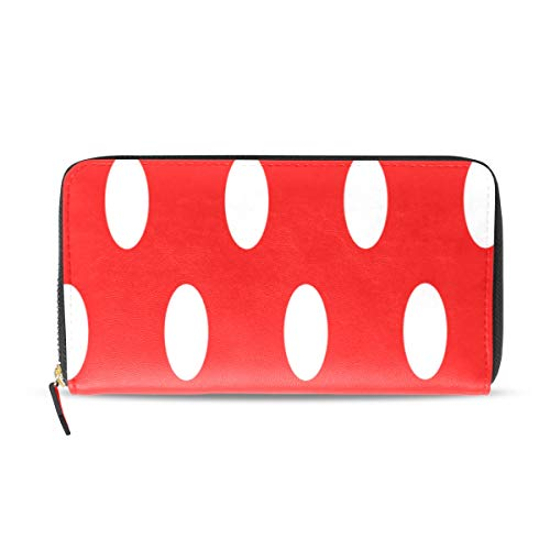(Womens Wallets White and Red Polka Dots Leather Passport Wallet Change Purse Zip Handbags)