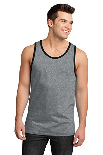 (District Men's Young Cotton Ringer Tank 3XL Heathered Steel/Black)