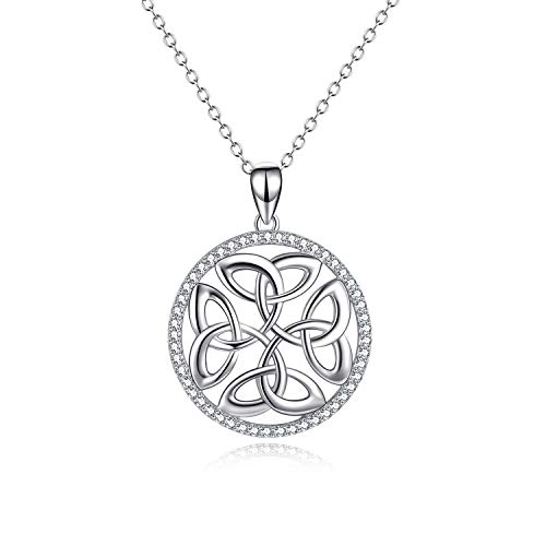 (Celtic Knot Round Pendant Necklace Sterling Silver Irish Jewelry Gifts for Women Girls (Celtic knot necklace))