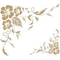 TODO-STENCIL Deco Cenefa 028 Esquina Rosas. Medidas aproximadas: