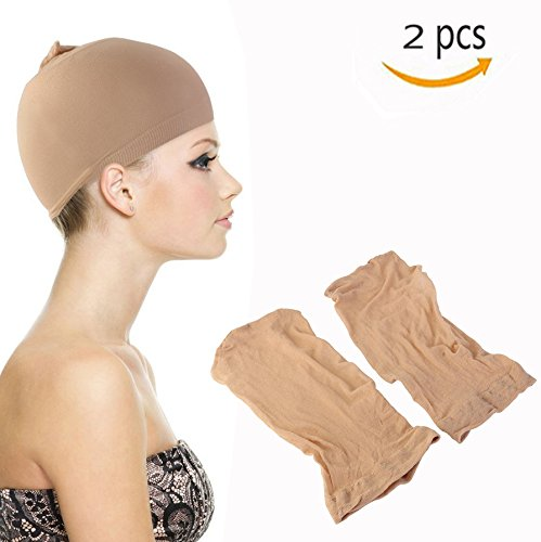 Cisixin Beauty Wig Caps Unisex Stocking Wig Hairnet Cap Snood - 2 Pack (Skin Color)