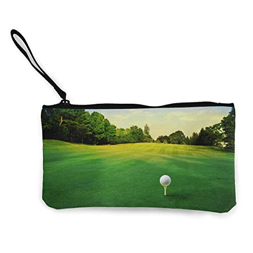 Oomato Canvas Coin Purse Golf Playing Sport Landscape Cosmetic Makeup Storage Wallet Clutch Purse Pencil -