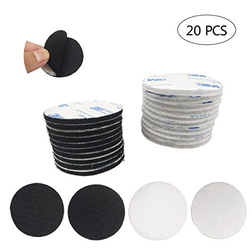20 Pack 2 inch Sticky Back Hook Loop Dots with Super Sticky Back Mounting Tape Removable Perfect for Wall Decor or Tools Hanging(Black and White)