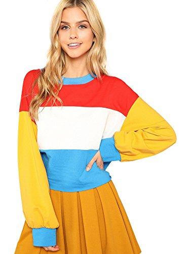 (Romwe Women's Fashion Color Block Oversized Sweatshirt Striped Long Sleeve Crop Top Multicolor M)