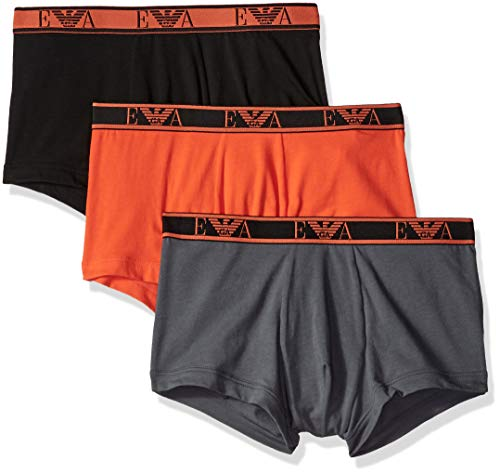 Emporio Armani Men's Monogram 3-Pack Trunk, Black/Flame/Anthracite, Large