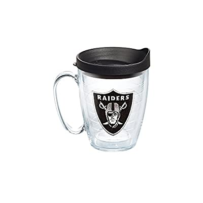 Tervis NFL Oakland Raiders Emblem Individual Mug with Black Lid, 16 oz, Clear