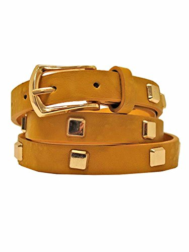 Mustard Yellow Skinny Dress Belt With Square Gold Studs