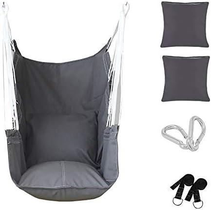 YXX-ブランコ 2クッション付きハンモックチェア 子供の寝室用 -スイングチェアを吊るす大人 屋外パティオ、裏庭&ガーデン用、負荷200kg / 440lbs (Color : Gray)