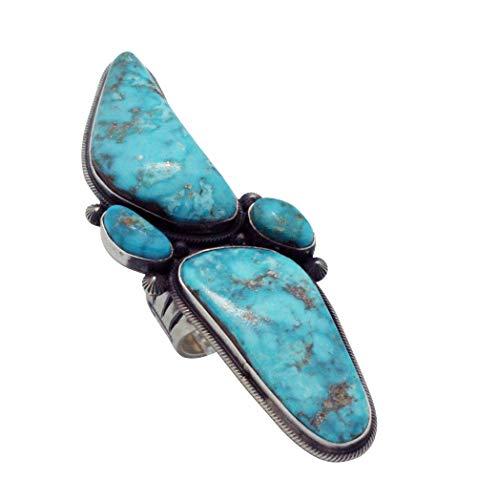 Freddie Maloney, Ring, Morenci Turquoise, Sterling Silver, Navajo Handmade, 7 ()