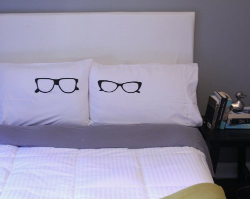 Oh, Susannah Glasses Pillow Cases His and Her Geek Gifts for Couples Cat Eye Glasses Matching Pillow Cases (Two 20x30