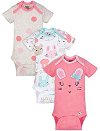 Organic Cotton Baby Girls Onesies Bodysuits 3-Pack, Size 0-3 Months