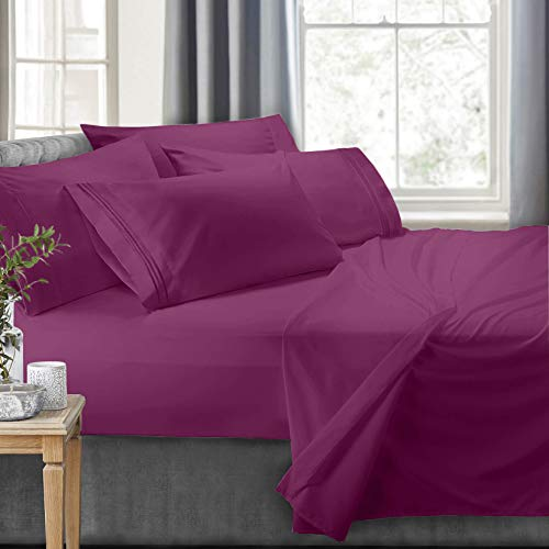 Clara Clark RV/Short Queen 6-Piece Bed Set for Campers-Deep Pocket Fitted Sheet Luxury Soft Microfiber, Hypoallergenic, Magenta