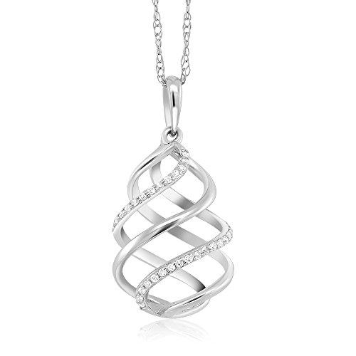 Gem Stone King 10K White Gold Round Cut White Diamond Swirl Pendant With 10K Gold Chain (0.047 cttw, I-J Color, I1-I2 Clarity)