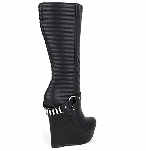 Ceinture Round Cuir EUR42UK85 Hiver Automne Noir Chaussures BLACK Métal NVXIE Bottes Talon Imperméable Cheville Tête Femmes Locomotive Wedge Chaîne 4Rwv8S