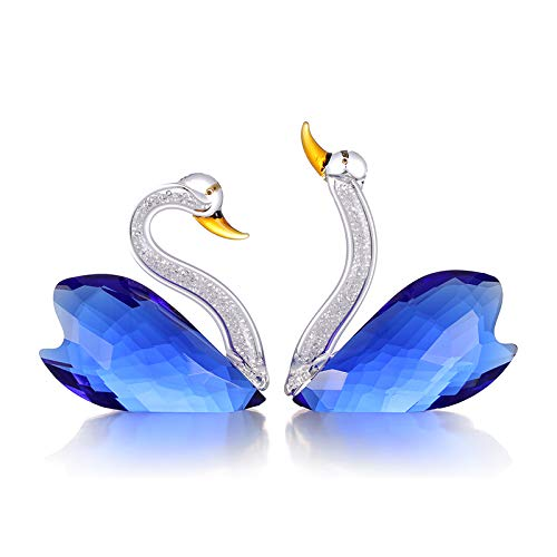 Blue Swan - XIANGBAN Crystal Swan Figurine Collection Valentine's Day Decorative Statue (Blue)