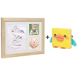 cinoton bebé recién nacido bebé Handprint y huella táctil arcilla Kit Madera Marco de fotos decoración de la pared y escritorio–Ideal bebé ducha regalos (precio: 18,99€)