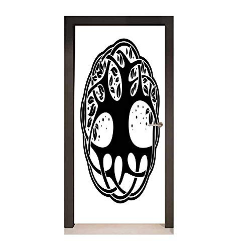 Celtic Decor Door Mural Celtic Tree of Life Historic Scottish Spiritual Nature Branches Root Knots Picture for Home Room Decoration Black - Celtic Butterfly Tattoos