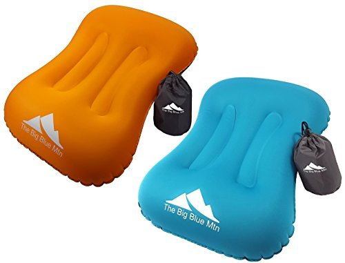 Camping Pillow Inflatable Backpacking Camp Hiking Ultralight Summit Gear - Beach Sea Travel Hammock Air Blow Up Portable Sleeping Pillows by The Big Blue Mtn - 2 Pack Blue & Orange