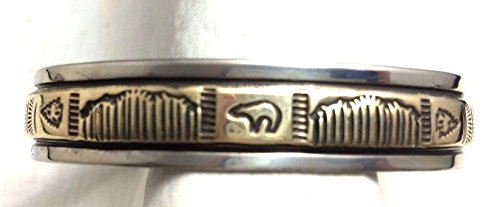 Navajo Silver and Gold Bracelet/Cuff Native American Signed Silver Cuff Bracelet Signed