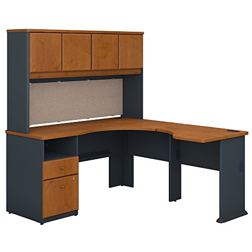 Bush Business Furniture Series A 60W x 65D L Shaped Desk with Hutch and 2 Drawer Pedestal in Natural Cherry and Slate