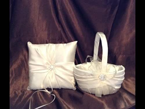 Amazon.com: wedding white or ivory ring bearer pillow and