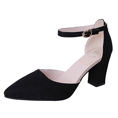 Women's Fashion Pumps Sandals Pointed Toe Chunky Ankle Strap Buckle Heels Shoes Summer Low Heel Dress Shoes Black