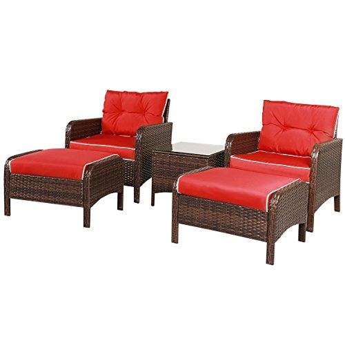 Tangkula 5 PCS All-Weather Wicker Furniture Set Sofas with Ottoman Outdoor Furniture (Red) (Wicker Ottoman Outdoor)