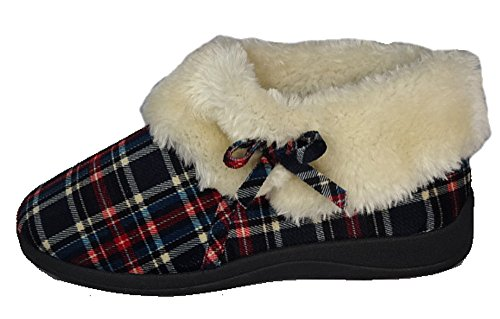 fur with Lining Navy Ladies warm Moccasin Check Slippers Suede Famous faux Dunlop wzzqp8X
